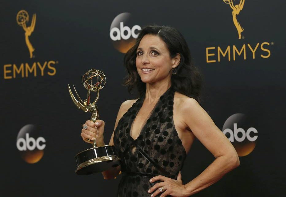 """Actress Julia Louis-Dreyfus poses backstage with her award for Outstanding Lead Actress In A Comedy Series for HBO's  """"Veep""""at the 68th Primetime Emmy Awards in Los Angeles, California U.S., September 18, 2016.  REUTERS/Mario Anzuon"""