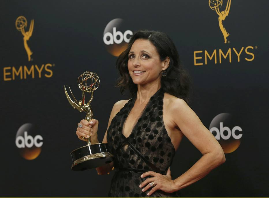 "Actress Julia Louis-Dreyfus poses backstage with her award for Outstanding Lead Actress In A Comedy Series for HBO's  ""Veep""at the 68th Primetime Emmy Awards in Los Angeles, California U.S., September 18, 2016.  REUTERS/Mario Anzuon"
